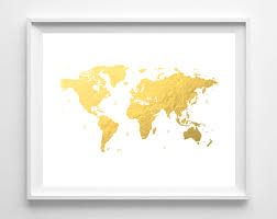 Printable World Map Printable World Map Print Gold Foil Map Print Nursery Art