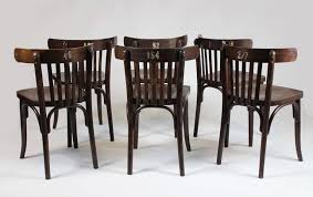 set of six bentwood bistro chairs 1950s ton thonet at 1stdibs