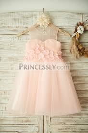 sheer neck pink tulle beading and 3d flowers wedding little