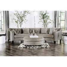 round sectional couch aretha contemporary grey tufted rounded sectional sofa by