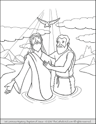1st luminous mysteries rosary coloring pages baptism
