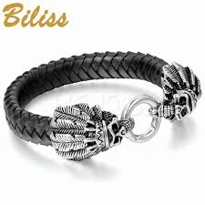leather bracelet with silver charm images New men 39 s stainless steel leather bracelet bangle silver black jpg