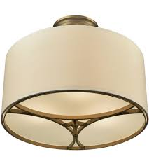 3 Bulb Flush Mount Ceiling Light Fixture Elk 10262 3 Pembroke 3 Light 16 Inch Brushed Antique Brass Semi