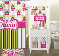 Girly Bathroom Accessories Sets Pink Monsters U0026 Stripes Bathroom Accessories Set Personalized