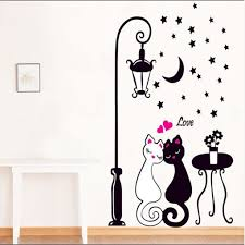 Bedroom Wall Decals For Couples Amazon Com Hatop Creative Cat Lovers Wall Art Decal Sticker