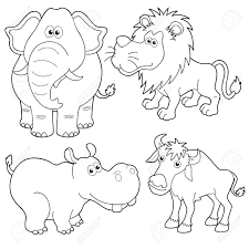 illustration of wild animals cartoons outline royalty free