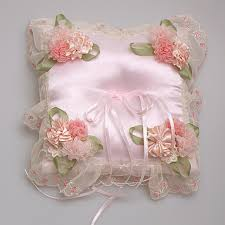 wedding ring holder party supplies wedding ring pillow pink flowers ribbon satin