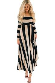 maxi dresses neck stripe print sleeve casual maxi dress