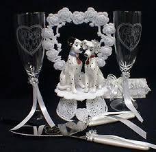 101 dalmatian dog disney wedding cake topper lot glasses knife