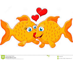 cute fish couple in love with heart stock vector image 40962168