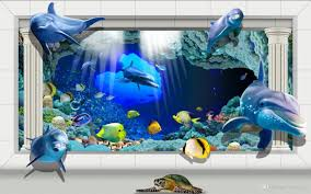 cheap under sea wall mural free shipping under sea wall mural custom large murals fabric wallpaper 3d wall paper sitting room bedroom tv sofa background under sea world cute post dolphins europe type