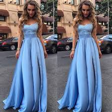 sales light blue lace strapless long evening prom dresses