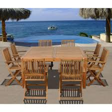 amazonia dubai square 9 piece teak patio dining set