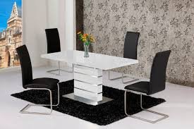 High Gloss Dining Table And Chairs Mace High Gloss Extending 120 160 Dining Table Chair Set White