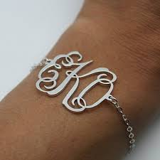 monogram bracelet sterling silver monogram bracelet sterling silver personalized monogram bracelet