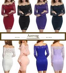amazon com acevog women u0027s off shoulder lace dress long sleeve