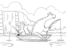 dinosaurs fishing on a boat coloring page colouring page