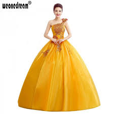yellow wedding dress yellow lace sweetheart organza ruffles one shoulder prom dress