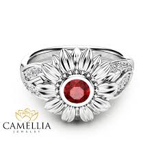 sunflower engagement ring unique ruby engagement ring ruby ring unique engagement