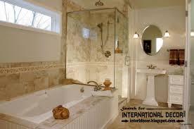 tile bathroom with rustic design ideas and modern bathtub also