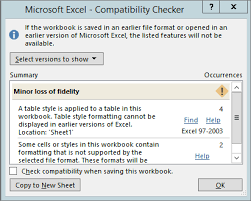 save an excel workbook for compatibility with earlier versions of