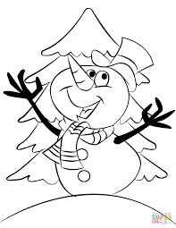 cartoon snowman coloring page free printable coloring pages