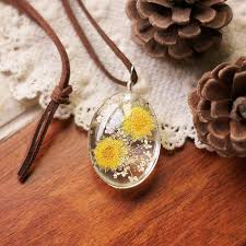 leather flower necklace images Natural pressed flowers pendant and vintage leather chain necklace jpg