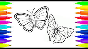 colouring colourful butterflies for kids learning paint with