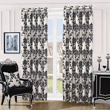 Cream And White Curtains Patterned Black And Cream Living Room Curtain Decoration Decofurnish