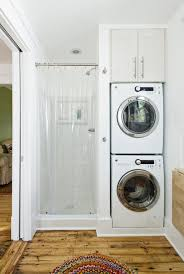 laundry room in bathroom ideas stacked washer and dryer and small shower 2nd bathroom