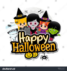 happy halloween text banner children dressed stock vector