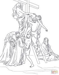 thirteenth station jesus is taken down from the cross coloring
