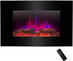 flat wall mount modern electric fireplace log pebble 2 in 1 set 3d