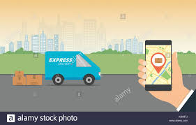 delivery service app express delivery concept delivery service app on mobile phone in