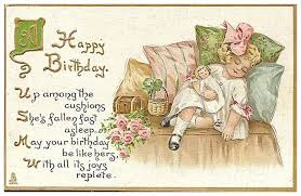 happy birthday postcards tuck happy birthday postcard with sweet girl and doll