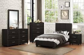 Platform Bedroom Furniture Sets Homelegance Lorenzi Upholstered Platform Bedroom Set Black Vinyl