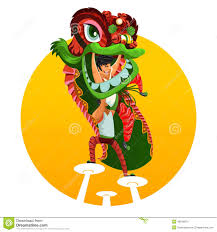 cartoon dragon and lion stock images image 7351274