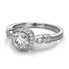 palladium jewelry vintage halo diamond engagement ring in palladium 50 carat si i