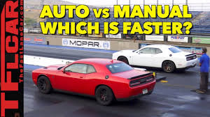 what u0027s faster an automatic or manual hellcat watch this drag race