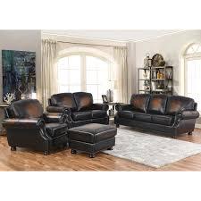 leather living room ellis 4 piece top grain leather living room set