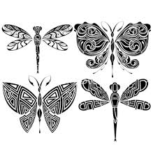 black tribal dragonfly and butterflies stencil