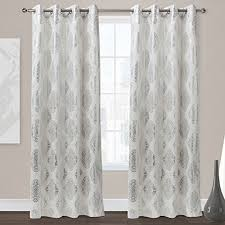 Gray And White Blackout Curtains Exclusive Home Augustus Grommet Top Curtain Panel Pair 84 White