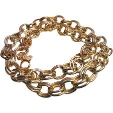 gold tone chain necklace images Vintage erwin pearl 24 inch chain link necklace heavy gold jpg