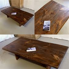 pine coffee table on matched slab legs lorimer workshop