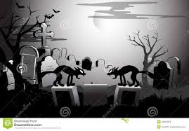 on halloween night at the cemetery stock vector image 40004876
