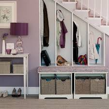 Coat Storage Ideas White Wooden Coat Rack Under The Stair Combined With White Wooden