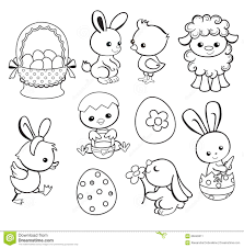 easter cartoon illustration for coloring stock photo image