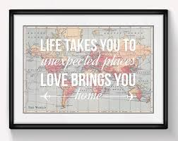 Map Of The World Poster by World Map Poster World Map Print Love Quote Map Of The
