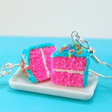 food earrings cake earrings hot pink and teal food jewelry colorful food earrings