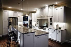 incredible u shape white kitchen decoration using white granite